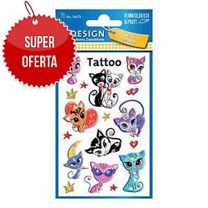 Tatuaże dla dzieci AVERY Z-Design, kotki, 17 sztuk