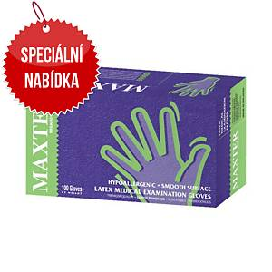 Jednorázové latexové rukavice Maxter, velikost M, bílé, 100 ks