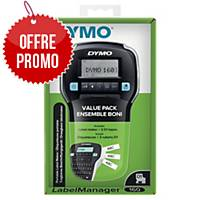 Etiqueteuse Dymo Label Manager 160P + 3 rubans D1 - 12 mm - noir sur blanc
