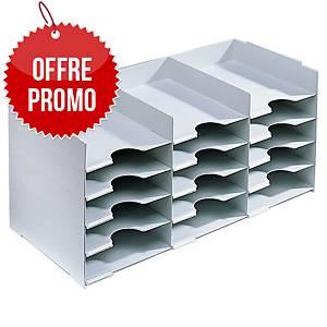 Module de rangement Paperflow - 15 compartiments - l. 67,4 cm - gris