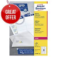 Avery L7160-100 Labels, 63.5 x 38.1 mm 21 Labels Per Sheet, 2100 Labels Per Pack