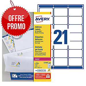 Boite 2100 étiquettes adresses laser Avery 63,5x38,1mm blanches l7160