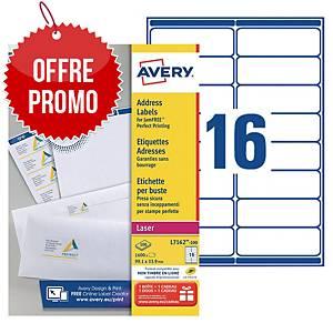 Etiquette adresse Avery - L7162-100 - 99,1 x 33,9 mm - blanche - par 1600
