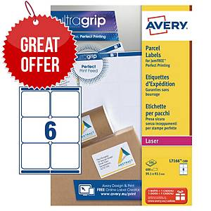 Avery L7166 laser labels Jam Free 99,1x93,1mm - box of 600