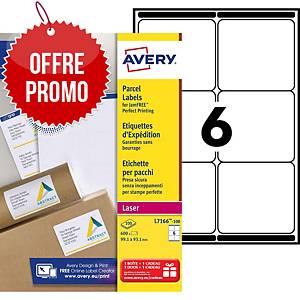 Etiquette expédition Avery - L7166-100 - 99,1 x 93,1 mm - blanche - par 600