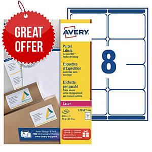 Avery L7165 laser labels Jam Free 99,1x67,7mm - box of 800