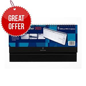 Collins Wirobound Desk Calendar 115 X 300mm Black - Week To View