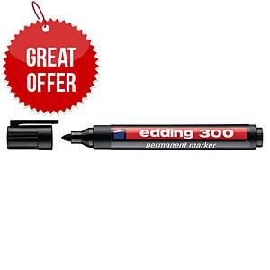 Edding 300 Permanent Marker Bullet Tip Black - Box of 10