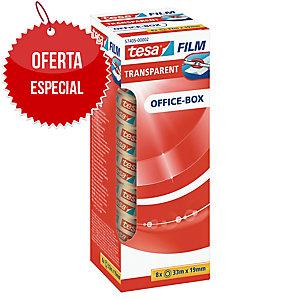 Pack 8 rollos de cinta adhesiva transparente TESA Office Film 19 mm x 33m