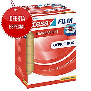 Pack 8 rollos de cinta adhesiva transparente TESA Office Film 19 mm x 66m