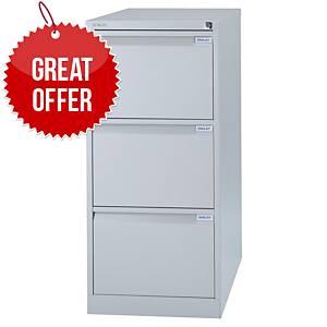 Bisley 3-Drawer Metal Filing Cabinet 1016 X 470 X 622mm - Grey