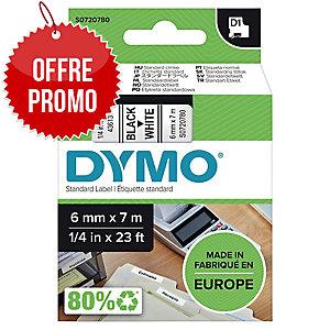 RUBAN DYMO 6 MM D1 NOIR/BLANC 43613