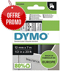 RUBAN DYMO 12 MM D1 NOIR/TRANSPARENT 45010