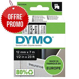 Ruban Dymo D1 - 12 mm - noir sur blanc