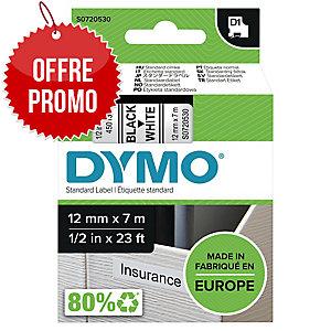 RUBAN DYMO 12 MM D1 NOIR/BLANC 45013