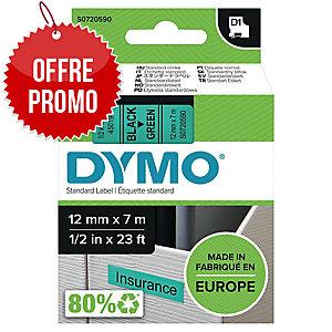 RUBAN DYMO 12 MM D1 NOIR/VERT 45019