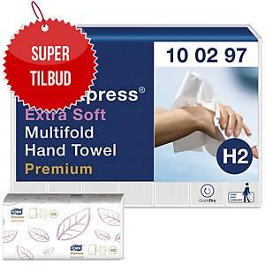 Håndklædeark Tork H2 Premium, extra soft, karton a 21 x 100 ark