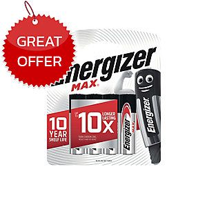 ENERGIZER MAX E91 ALKALINE BATTERIES AA PACK OF 4