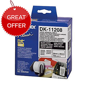 BROTHER DK-11208 ADDRESS LABELS 38MM X 90MM - ROLL OF 400 LABELS