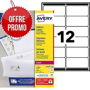 Etiquette adresse Avery - L7177-100 - 99,1 x 42,3 mm - blanche - par 1200