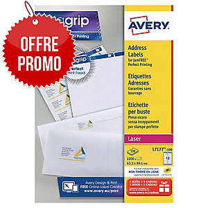 Boite 1200 étiquettes adresses laser blanches Avery 99,1x42,3mm l7177