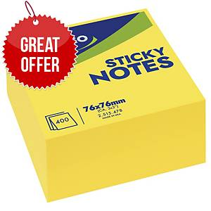 Lyreco Bright Sticky Notes 76x76mm Cube 400-Sheets Yellow