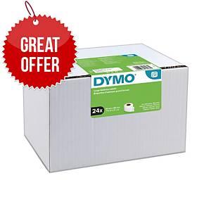 Dymo LW Large Address Labels, 36mm X 89mm, 24 Rolls of 130 Easy-Peel Labels