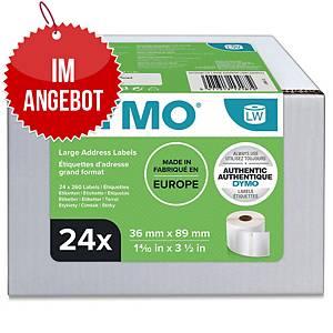 Rollenetiketten Dymo S0722390, 89x36 mm, weiß, 12 Rollen/220 Etiketten