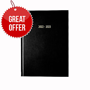 LYRECO BLACK A5 ACADEMIC DIARY - WEEK TO VIEW