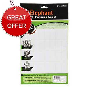 ELEPHANT A7 LABEL 19MM X 38MM 40 LABEL/SHEET - PACK OF 15 SHEETS