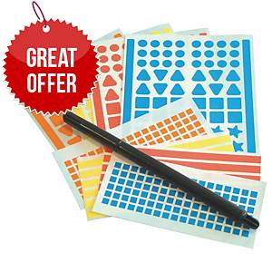Adhesive Shape Stickers And Pen