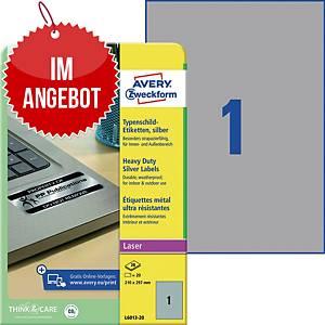 Typenschild-Etiketten Avery Zweckform L6013-20, 210x297mm (LxB),silber, 20 St.
