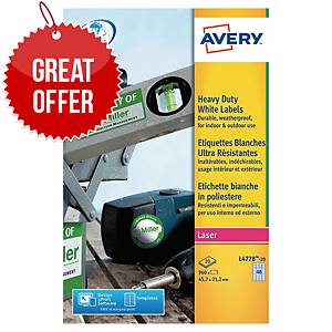 Avery L4778-20 Resistant Labels, 45.7 x 21.1 mm, 48 Labels Per Sheet