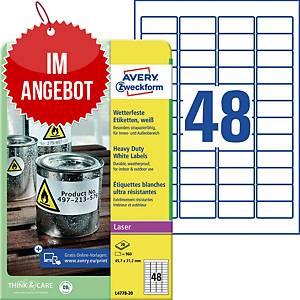 Wetterfeste Etiketten Avery Zweckform L4778-20, 45,7x21,2mm (LxB), weiß, 960 St.