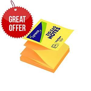 Lyreco Zigzag Notes 75x75mm 100-Sheets Yellow/Orange