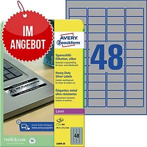 Typenschild-Etiketten Avery Zweckform L6009-20, 45,7x21,2mm (LxB),silber, 960 St