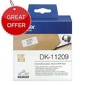 BROTHER DK11209 SMALL ADDRESS LABELS 29MM X 62MM - ROLL OF 800 LABELS
