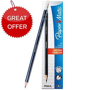 PAPERMATE WOODEN EXAM STANDARD PENCIL 2B - BOX OF 12