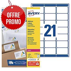 Etiquette adresse Avery - L7160-250 - 63,5 x 38,1 mm - blanche - par 5250