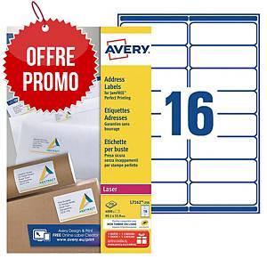 Etiquette adresse Avery - L7162 - 99,1 x 33,9 mm - blanche - par 4000