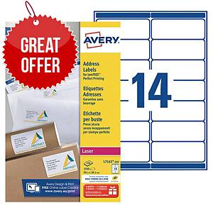 Avery L7163 laser labels Jam Free 99,1x38,1mm - box of 3500