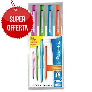 Pennarelli PaperMate Nylon Flair punta media in astuccio colori fun - conf. 4