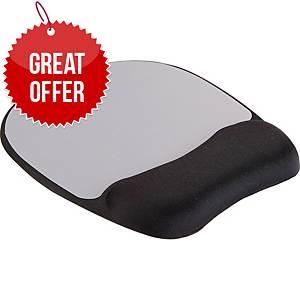 Fellowes 9175801 Memory Foam Mousepad Wrist Support Silver Streak