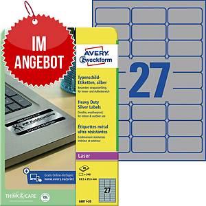 Typenschild-Etiketten Avery Zweckform L6011-20, 63,5x29,6mm (LxB),silber, 540 St