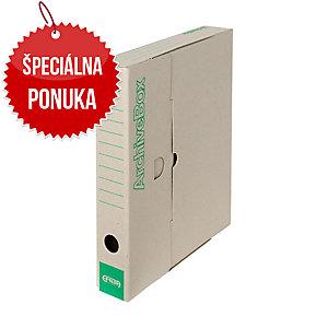 Archivačné prenosné krabice Emba 33 x 26 x 5 cm prírodné, balenie 25 kusov