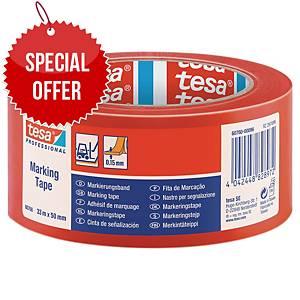 tesa® 60760 PVC floor tape red 50 mm x 33 m