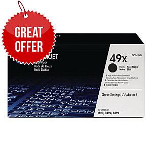HP 49X 2-pack High Yield Black Original LaserJet Toner Cartridges (Q5949XD)