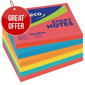 Lyreco Brilliant Sticky Notes 100x75mm 100-Sheets Asst - Pack Of 6