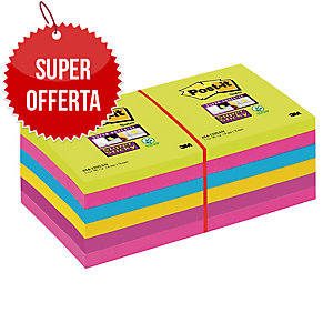 FOGLIETTI POST-IT® ADESIVO SUPER STICKY: KIT 12 BLOCCHETTI 76x76MM ULTRACOLOR