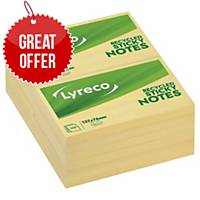 Lyreco Recycled Sticky Notes 125x75mm 100-Sheets Yellow - Pack Of 12
